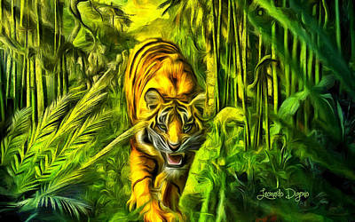 Habitats Digital Art - Tiger In The Forest - Da by Leonardo Digenio
