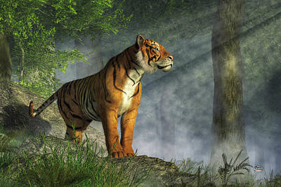 Siberian Digital Art - Tiger In The Light by Daniel Eskridge
