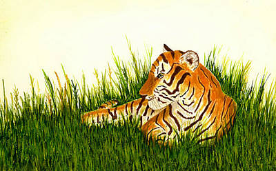 India Wildlife Painting - Tiger In Wait by Michael Vigliotti
