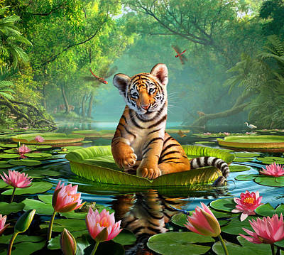 Pond Painting - Tiger Lily by Jerry LoFaro