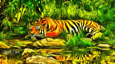 Tiger Digital Art - Tiger Resting - Da by Leonardo Digenio