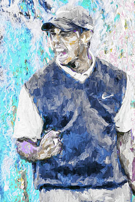 Tiger Says 2 Painting Digital Golf Print by David Haskett
