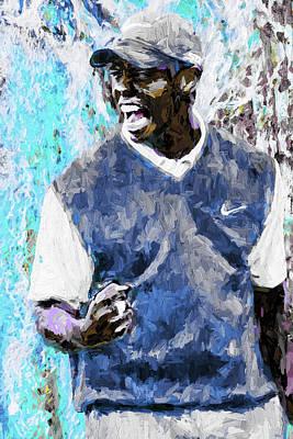 Tiger Says Digital Painting Golf Print by David Haskett