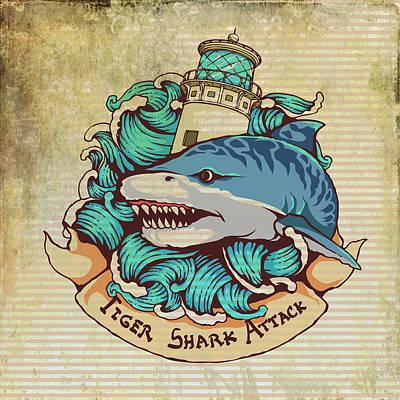 Sharks Mixed Media - Tiger Shark Attack by Brandi Fitzgerald