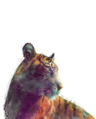 Tiger Mixed Media - Tiger // Solace - White Background by Amy Hamilton
