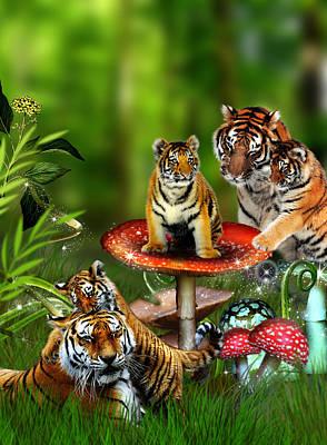 Tiger Toadstools Print by Julie L Hoddinott