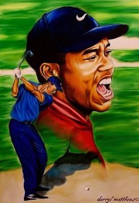 Tiger Woods. Print by Darryl Matthews