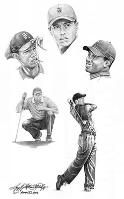 Famous People Drawing - Tiger Woods- Full Circle by Murphy Elliott
