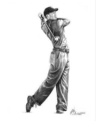 Famous People Drawing - Tiger Woods Full Swing by Murphy Elliott