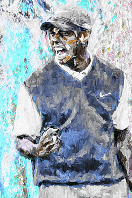 Tiger Woods One Blue Golfer Digital Art Print by David Haskett
