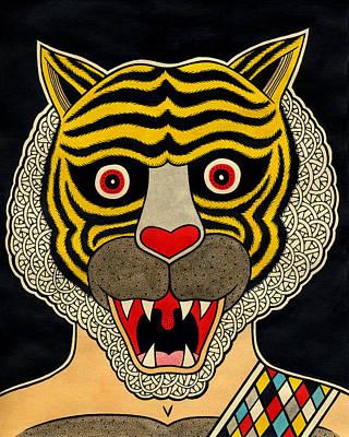 Wrestling Drawing - Tigerman by Matt Leines