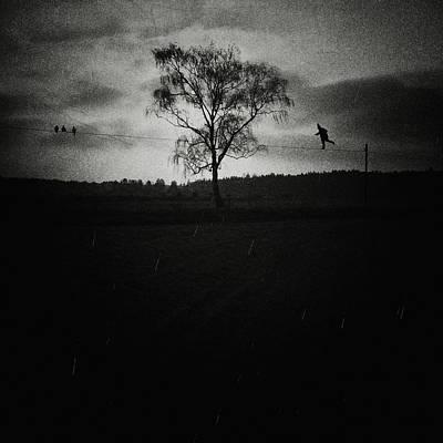 Creepy Digital Art - Tightrope Walker by Joanna Jankowska
