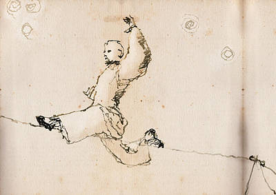 Circus Drawing - Tightwire by H James Hoff