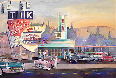 Ford Mustang Painting - Tik Tok Drive-inn by Mike Hill