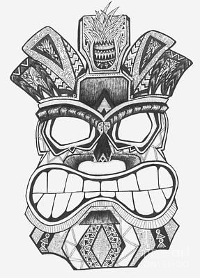 Pineapple Drawing - Tiki Soul by Michael Miller