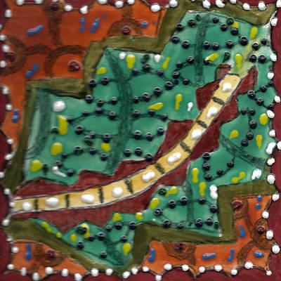 Ceramic Mixed Media - Tile 3 by  Karen Silverman