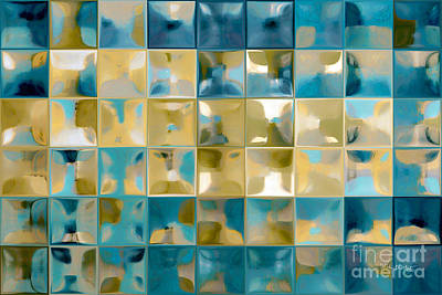 Tile Art 5 2015. Modern Mosaic Tile Art Painting Print by Mark Lawrence