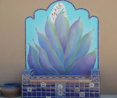 Mural Mixed Media - Tile Bench And Agave Mural by Patty Rebholz