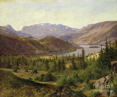 Norwegian Painting - Tile Fjord by Louis Gurlitt