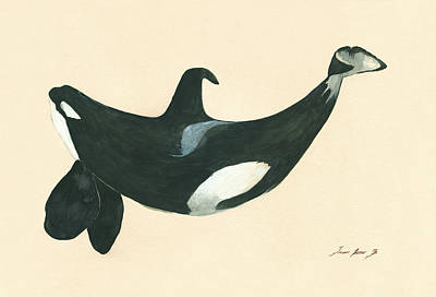 Whale Painting - Tilikum Killer Whale by Juan Bosco