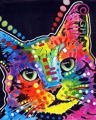 Graffiti Painting - Tilted Cat by Dean Russo