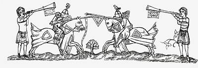 Knight Drawing - Tilting In The Early Fourteenth by Vintage Design Pics