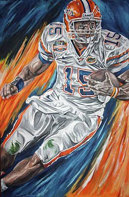 Tim Tebow Florida Gators Bcs Champions David Courson Sports Art Painting - Tim Tebow by David Courson