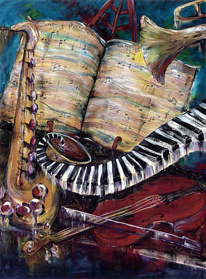 Trumpet Painting - Time Pieces by Cheryl Ehlers