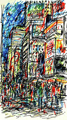 New York City Skyline Drawing - Times Square, New York by K McCoy