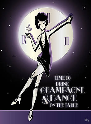 Time To Drink Champagne And Dance On The Table 1920s Gatsby Flapper Girl  Print by Cecely Bloom