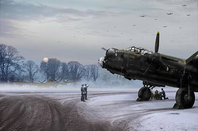 Time To Go - Lancasters On Dispersal Print by Gary Eason