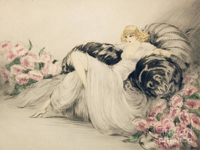 Louis Icart Painting - Time To Relax by Louis Icart
