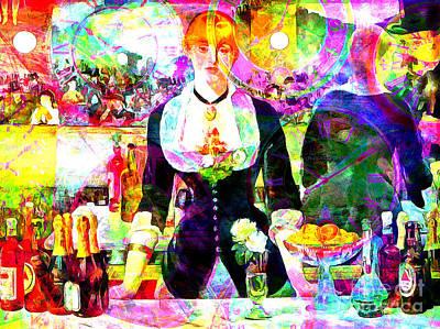 Hangout Digital Art - Timeless Art A Bar At The Den Folies Bergere 20160228 by Wingsdomain Art and Photography