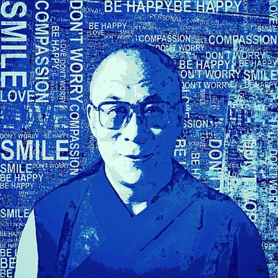 Tibetan Buddhism Mixed Media - Timeless Wisdom - Retro Pop Art, Blue by Stacey Chiew