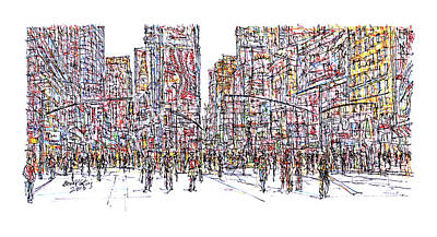 Greenwich Village Drawing - Times Square, New York City. by Brian Keating