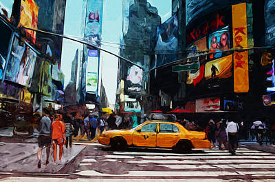 Times Mixed Media - Times Square Taxi- Art By Linda Woods by Linda Woods