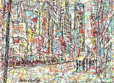 Greenwich Village Drawing - Times Square,new York City. by Brian Keating