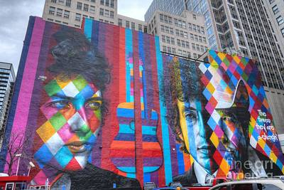 Bob Dylan Photograph - Times They Are A Changing Giant Bob Dylan Mural Minneapolis Cityscape by Wayne Moran