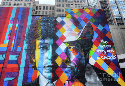 Bob Dylan Photograph - Times They Are A Changing Giant Bob Dylan Mural Minneapolis Getting Older by Wayne Moran