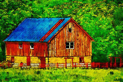 Tin Roof Red Wood And Stone Barn Print by Anna Louise