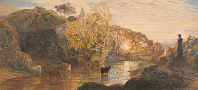 Tree At Sunset Painting - Tintern Abbey At Sunset by Samuel Palmer
