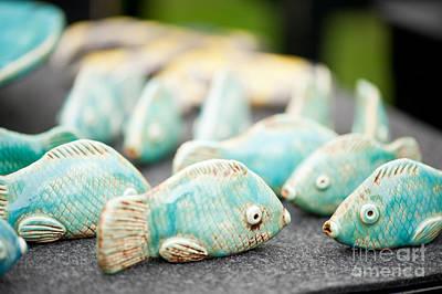 Ceramics Photograph - Tiny Fish Ceramic Decorations by Arletta Cwalina