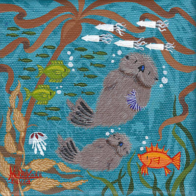 Tiny Otters Xx Print by Merry  Kohn Buvia