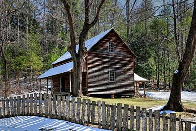 Winter Scenes Photograph - Tipton Cabin Cades Cove In The Great Smoky Mountains National Park by Carol R Montoya
