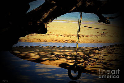 Water Play Photograph - Tire Swing by Cheryl Young