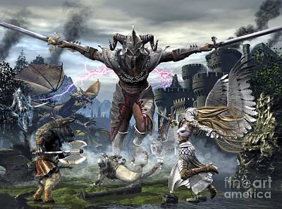Centaur Digital Art - Titan Trying To Defeat A Legion by Kurt Miller