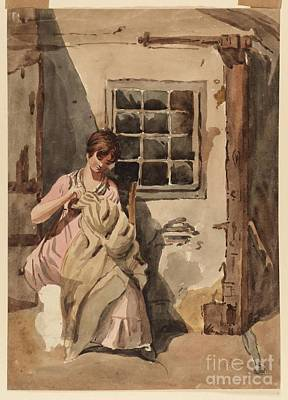 Teenager Painting - Title A Girl Sewing At A Cottage Door by Joshua Cristall