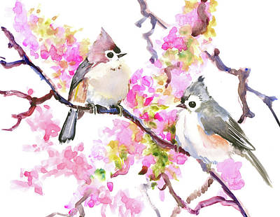 Titmouse Drawing - Titmice And Cheery Blossom by Suren Nersisyan