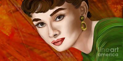 Hairstyle Digital Art - To Audrey by Sydne Archambault