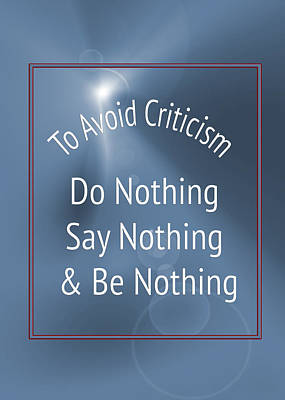 To Avoid Criticism 5457.02 Print by M K  Miller
